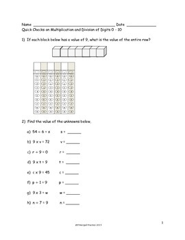 Common Core Multiplication and Division 0 - 10, Parentheses, Multiples of 10