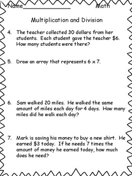 Common Core Multiplication and Division Assessment