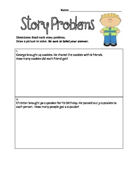 Common Core: Multiplication and Division Story Problems Worksheets