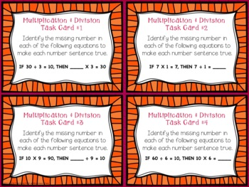 Common Core Multiplication and Division Writing Equations Task Cards
