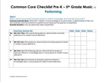 Common Core Music Standards Checklists - Elementary School (Pre-K - 5th Grade)