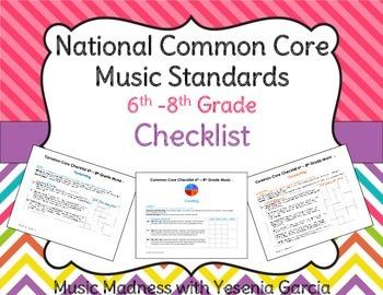 Common Core Music Standards Checklists - Middle School (6th-8th Grade)