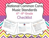 Common Core Music Standards Checklists - Middle School (6t