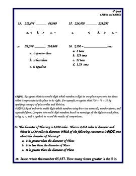 Common Core NBT1 and NBT2 Assessment