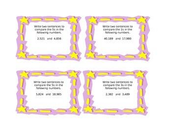 Common Core NBT1 and NBT2 Understanding Place Value Task Cards