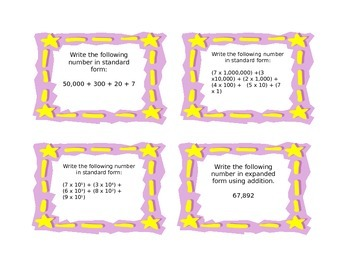 Common Core NBT1 and NBT2 Understanding Place Value Task Cards