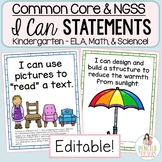 Common Core & NGSS Student-Friendly I Can Statements for Kindergarten
