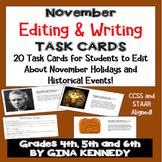 November Editing, Daily Writing Task Cards, Fun History Integration!