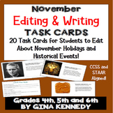 """November Themed """"Daily Editing"""" Writing Task Cards, Fun Hi"""