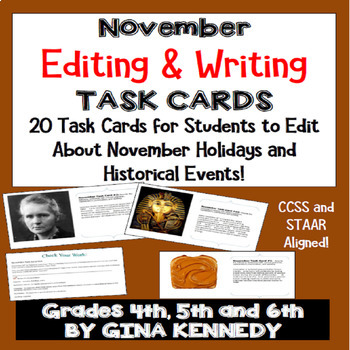 "November Themed ""Daily Editing"" Writing Task Cards, Fun Hi"