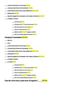 Common Core Narrative Writing Check-Off List