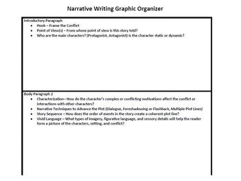 Common Core Narrative Writing Graphic Organizer and Rubric