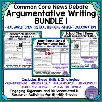 common core news debate essays differentiated argumentative  common core news debate essays differentiated argumentative writing bundle