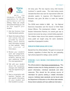 Common Core For Parents - Overview in Newsletter Format