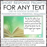 Common Core & Next Gen Standard Aligned: Short Response Prompts for Any Text