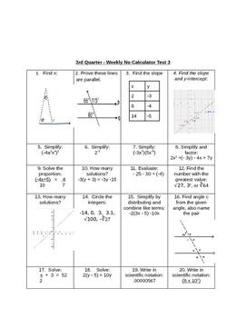 Common Core No Calculator Test for 3rd Quarter