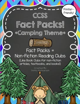 Common Core Non-Fiction Reading Clubs: Fact Packs! *Camping Theme*