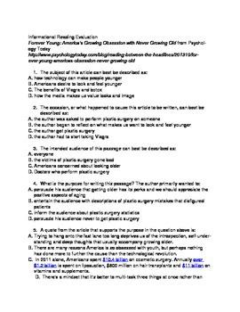 Nathaniel Hawthorne's Dr. Heideggar's Experiment-CCSS pre-reading activity