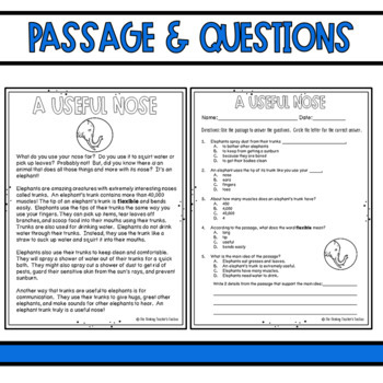 Common Core Nonfiction Reading Passage 2nd And 3rd Grade Explicit Information