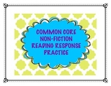 Common Core Nonfiction Reading Response