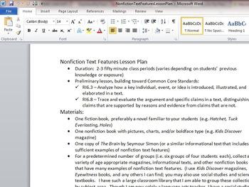 Common Core Nonfiction Text Features