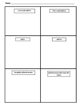 Common Core Noun Foldable and Word Sort