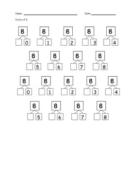 Common Core Number Bond Addition Practice Worksheets 'Parts Of'
