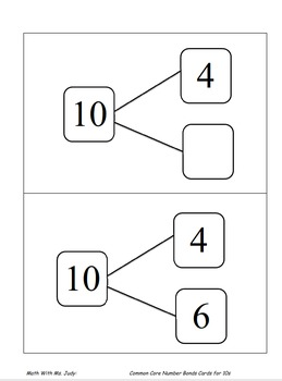 Common Core Number Bond Cards for 10s