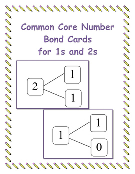 Common Core Number  Bond Cards for 1s and 2s
