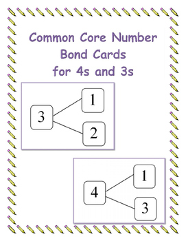 Common Core Number Bond Cards for 3s and 4s