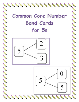 Common Core Number Bond Cards for 5s