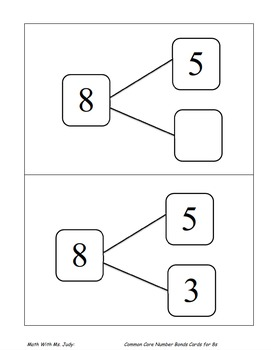 Common Core Number Bond Cards for 8s