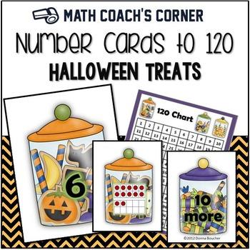 Number Sense: Number Cards to 120, Halloween Treats w/Activities