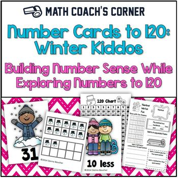 Common Core: Number Cards to 120, Winter Kids w/Activities