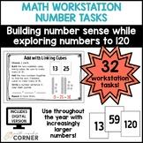 Math Workstation Number Tasks: Numbers to 120, Print and Digital