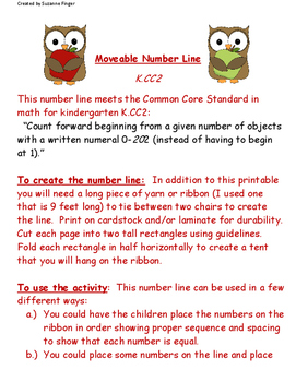 Common Core Number Line for PK-1