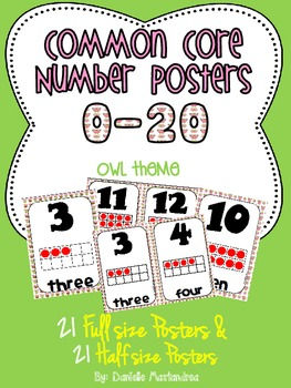 Common Core Number Posters: Full Size & Half Size {Owl Theme}