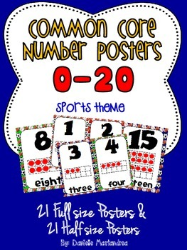 Common Core Number Posters: Full Size & Half Size {Sports Theme}
