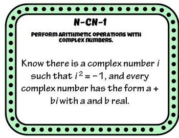High School Common Core  Number Quantity Standard Posters