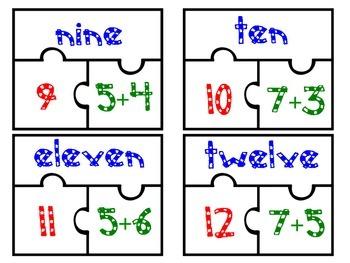 Common Core Number Sense Puzzles 1-20