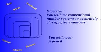 Common Core Number System SB 1 Classify Numbers and the Re