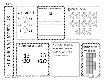 Number a Day Math Printables (second grade)