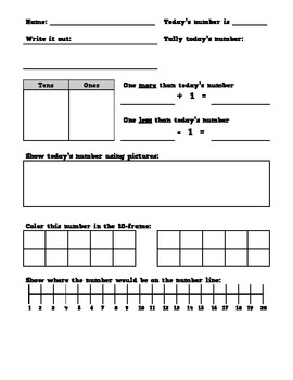 Common Core Number of the Day Worksheet