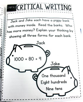 Common Core Numbers Notebook Place Value Second Grade