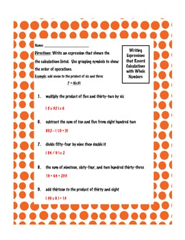 Common Core Numerical Expressions Worksheet Pack