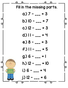 Common Core (OA8) Missing Parts: Subtraction