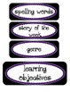 Common Core Objective Headers / Signs for Pocket Chart in Purple and Black
