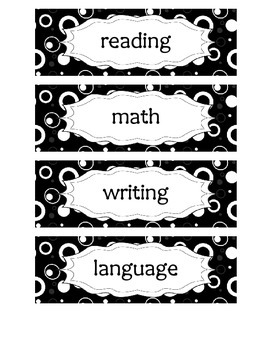 Common Core Objective Headers for Pocket Chart in Black & White Circle Design