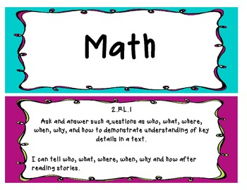 Common Core Objectives and I Can Statements- Second grade