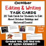 October Editing, Daily Writing Task Cards, Fun History Integration!